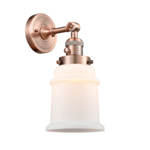 Canton Antique Copper One-Light Wall Sconce with Matte White Glass