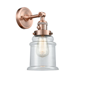 Canton Antique Copper One-Light Wall Sconce with Clear Glass