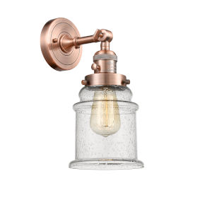 Canton Antique Copper One-Light Wall Sconce with Seedy Glass