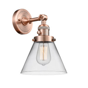 Large Cone Antique Copper One-Light Wall Sconce with Clear Glass
