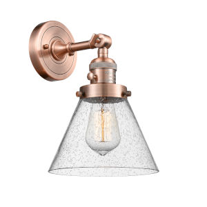 Large Cone Antique Copper One-Light Wall Sconce with Seedy Glass