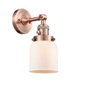 Small Bell Antique Copper One-Light Wall Sconce with Matte White Cased Glass