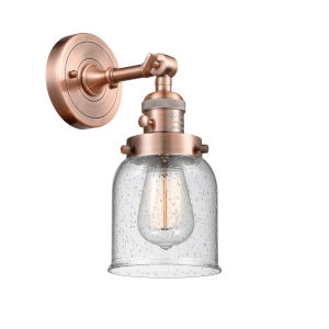 Small Bell Antique Copper One-Light Wall Sconce with Seedy Glass
