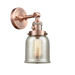 Small Bell Antique Copper One-Light Wall Sconce with High-Low Off Switch