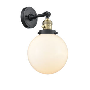 Franklin Restoration Black Antique Brass Eight-Inch One-Light Wall Sconce with Matte White Cased Beacon Shade