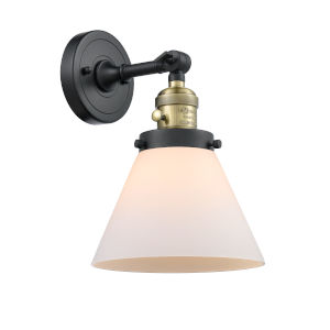 Large Cone Black Antique Brass One-Light Wall Sconce with Matte White Cased Glass