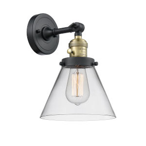 Large Cone Black Antique Brass One-Light Wall Sconce with Clear Glass