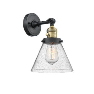 Large Cone Black Antique Brass One-Light Wall Sconce with Seedy Glass