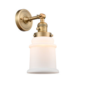Canton Brushed Brass One-Light Wall Sconce with Matte White Glass