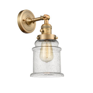Canton Brushed Brass One-Light Wall Sconce with Seedy Glass