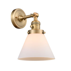 Large Cone Brushed Brass One-Light Wall Sconce with Matte White Cased Glass