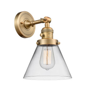Large Cone Brushed Brass One-Light Wall Sconce with Clear Glass