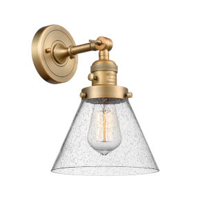 Large Cone Brushed Brass One-Light Wall Sconce with Seedy Glass