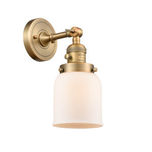 Small Bell Brushed Brass One-Light Wall Sconce with Matte White Cased Glass