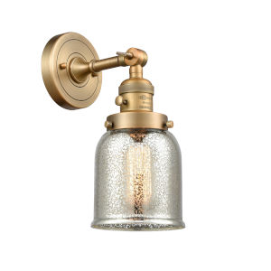 Small Bell Brushed Brass One-Light Wall Sconce with High-Low Off Switch