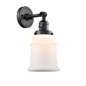 Canton Matte Black One-Light Wall Sconce with Matte White Glass