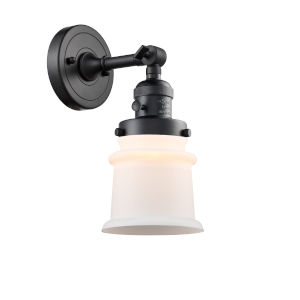 Franklin Restoration Matte Black 11-Inch One-Light Wall Sconce with Matte White Small Canton Shade