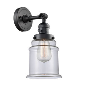 Canton Matte Black One-Light Wall Sconce with Clear Glass