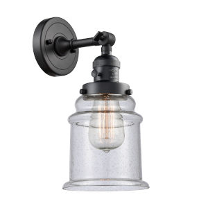 Canton Matte Black One-Light Wall Sconce with Seedy Glass