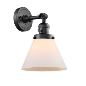 Large Cone Matte Black One-Light Wall Sconce with Matte White Cased Glass