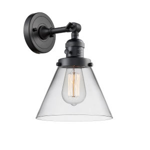 Large Cone Matte Black One-Light Wall Sconce with Clear Glass