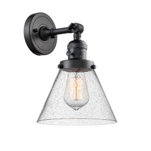 Large Cone Matte Black One-Light Wall Sconce with Seedy Glass