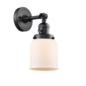 Small Bell Matte Black One-Light Wall Sconce with Matte White Cased Glass
