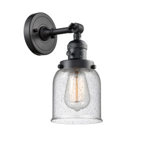 Small Bell Matte Black One-Light Wall Sconce with Seedy Glass