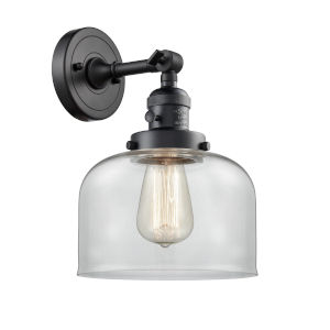 Franklin Restoration Matte Black Eight-Inch One-Light Wall Sconce with Clear Large Bell Shade