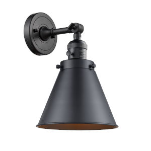 Appalachian Matte Black One-Light Wall Sconce High-Low Off Switch