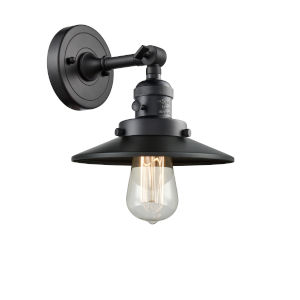 Franklin Restoration Matte Black Eight-Inch One-Light Wall Sconce with Matte Black Metal Shade