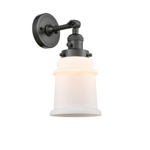 Canton Oil Rubbed Bronze One-Light Wall Sconce with Matte White Glass