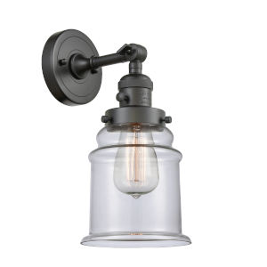 Canton Oil Rubbed Bronze One-Light Wall Sconce with Clear Glass
