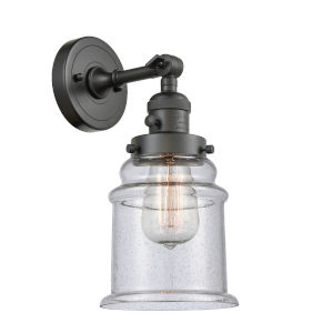 Canton Oil Rubbed Bronze One-Light Wall Sconce with Seedy Glass