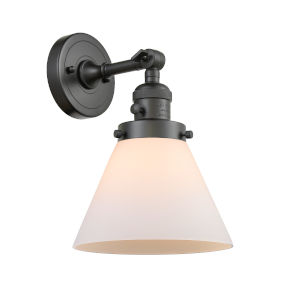 Large Cone Oil Rubbed Bronze One-Light Wall Sconce with Matte White Cased Glass