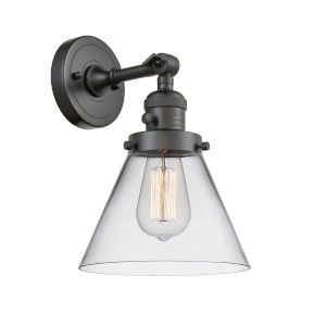 Large Cone Oil Rubbed Bronze One-Light Wall Sconce with Clear Glass