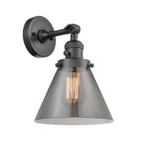 Large Cone Oil Rubbed Bronze One-Light Wall Sconce with Smoked Glass