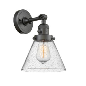 Large Cone Oil Rubbed Bronze One-Light Wall Sconce with Seedy Glass