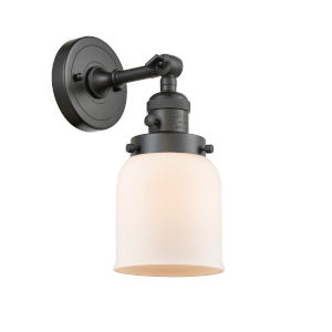 Small Bell Oil Rubbed Bronze One-Light Wall Sconce with Matte White Cased Glass