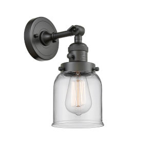 Small Bell Oil Rubbed Bronze One-Light Wall Sconce with Clear Glass