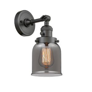 Small Bell Oil Rubbed Bronze One-Light Wall Sconce with Smoked Glass