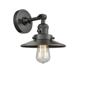 Franklin Restoration Oil Rubbed Bronze Eight-Inch One-Light Wall Sconce with Railroad Oil Rubbed Bronze Metal Shade