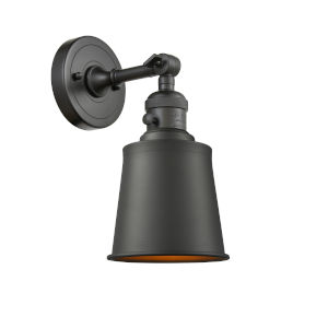 Franklin Restoration Oil Rubbed Bronze Five-Inch One-Light Wall Sconce with Addison Oil Rubbed Bronze Metal Shade