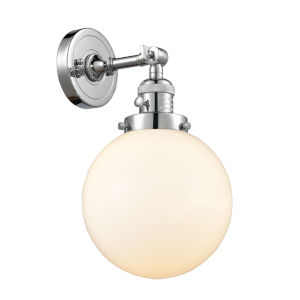 Franklin Restoration Polished Chrome Eight-Inch One-Light Wall Sconce with Matte White Cased Beacon Shade