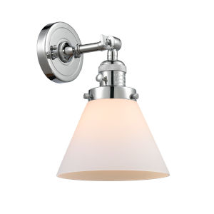 Large Cone Polished Chrome One-Light Wall Sconce with Matte White Cased Glass