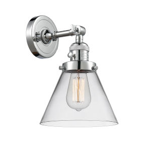 Large Cone Polished Chrome One-Light Wall Sconce with Clear Glass