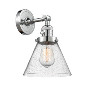 Large Cone Polished Chrome One-Light Wall Sconce with Seedy Glass