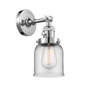 Small Bell Polished Chrome One-Light Wall Sconce with Clear Glass