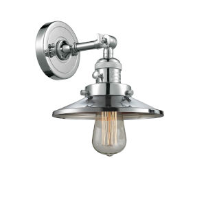 Franklin Restoration Polished Chrome Eight-Inch One-Light Wall Sconce with Railroad Polished Chrome Metal Shade