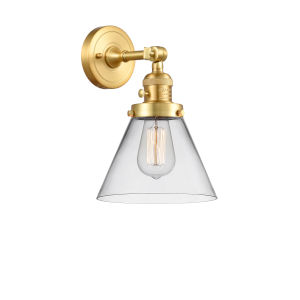 Franklin Restoration Satin Gold 10-Inch One-Light Wall Sconce with Clear Large Cone Shade